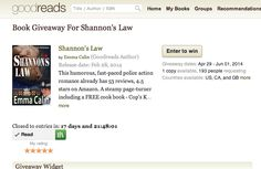 Get yourself a FREE paperback edition of Shannon's Law on Goodreads - finishes the 1st June 2014.  https://www.goodreads.com/giveaway/show/91067-shannon-s-law