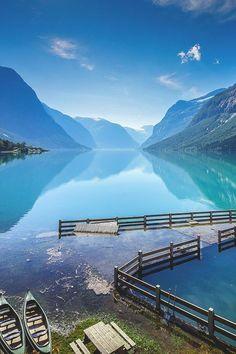 In Lake Lovatnet, Stryn, Norway.