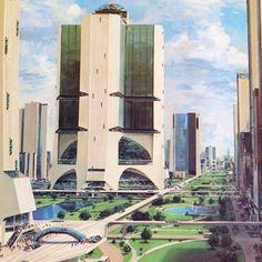 Original 1974 Ad Otis Elevator Futuristic Building Llustration by John Berkey John Berkey, Sience Fiction, Futuristic Robot, Future Buildings, Colani, 70s Sci Fi Art, World Of Tomorrow, Environment Concept Art, Science Fiction Art