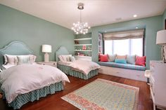 Home Interior Pedia Cozy Guest Room Design Ideas With Twin Bed Room Ideas Guest Bedroom Twin Bed Ide Twin Girl Bedrooms, Guest Bedrooms, Girls Bedroom, Bedroom Decor, Guest Room, Bedroom Ideas, Twin Girls, Bed Ideas, Coral Bedroom