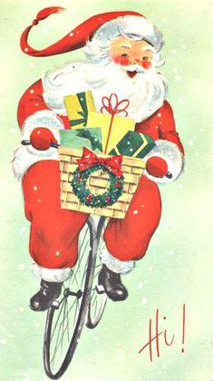 vintage Christmas Santa riding bicycle, biking, bike, presents, 1950s?
