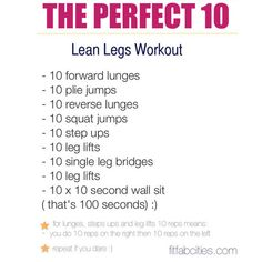From the Community: Printable 10x10 Lean Legs Workout