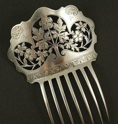 Antique hair comb, leaf engraving