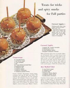 Vintage Halloween Recipes - Caramel apples, gingersnaps, hot mulled cider