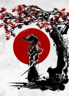 Anime Displate Poster Afro under the sun afrosamurai Afro Samurai, Female Samurai, Samurai Anime, Samurai Warrior, Japanese Artwork, Japanese Tattoo Art, Samourai Tattoo, Tableau Design, Samurai Wallpaper