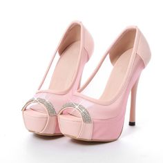 Gorgeous Pink Peep toe Diamante Design High Heels