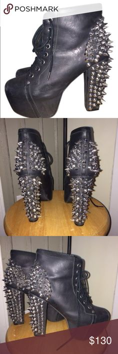 Jeffrey Campbell Spike Heels Pre owned Jeffrey Campbell Lita with spikes. Paid $220 from LF boutique in NYC. Have been worn but still in great condition (the flash makes it look more worn than it really is). A couple spikes are missing but not noticeable and can easily be replaced. Jeffrey Campbell Shoes Heeled Boots