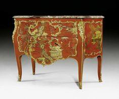 ROTE LACK-KOMMODE, Louis XV, sign. M. CRIAERD (Mathieu Criae