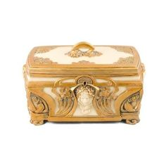 Ukm Gifts-Art Nouveau Decorative Gilt Jewellery Trinket Box New ❤ liked on Polyvore featuring home, home decor, jewelry storage, medieval, art nouveau trinket box, jewellery box, jewelry trinket box and art nouveau home decor