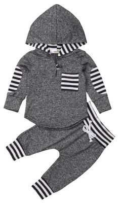 Gray Striped Hooded Set – Boy's Clothes - Baby Clothing Baby Boy Clothes Hipster, Stylish Baby Clothes, Baby Clothes Online, Organic Baby Clothes, Cute Baby Clothes, Clothes Sale, Dress Clothes, Stylish Kids, Style Clothes
