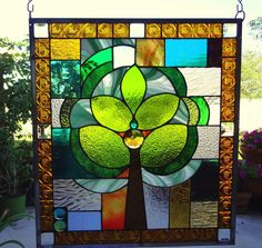 "Stained Glass Window Panel ""Green Tree of Life"""