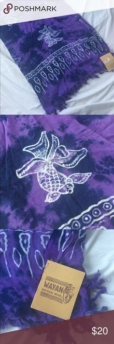 Beautiful purple sarong Beautiful purple and navy tie dye sarong with white koi detail. NWT. 60x40 Accessories Scarves & Wraps