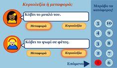 Κυριολεξία ή μεταφορά; Ένα διαδραστικό παιχνίδι για το μάθημα των ελληνικών. Greek Language, Greek Alphabet, Educational Technology, Grammar, Crafts For Kids, Online Games, School Ideas, Classroom Ideas, Cotton