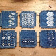 Denim quilt squares with sashiko