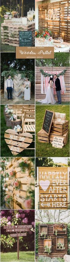 rustic country wedding ideas - wood pallets wedding decor ideas / http://www.deerpearlflowers.com/rustic-wedding-themes-ideas-part-2/