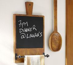 Cuisine Chalkboard with Towel Bar - something like this but modern, hang on wall between kitchen/mudroom