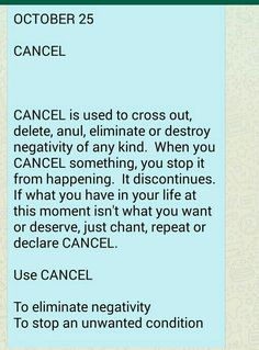 Cancel - to eliminate negativity Essential Oils For Asthma, Money Affirmations, Chakra Affirmations, Healing Codes, Switch Words, Reiki Symbols, Daily Health Tips, Spiritual Messages, Journey Quotes