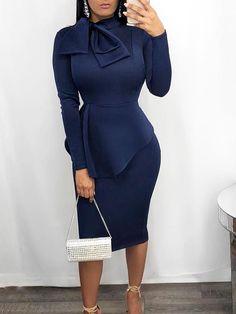 Elegant Tie Neck Peplum Bodycon Dress