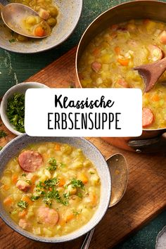 Klassische Erbsensuppe Classic pea soup A warm soup in the slowly approaching autumn – what could be better? Pea soup, like grandmother's then. Warm recipes for the cold winter. Soup recipes with meat Veggie Recipes, Soup Recipes, Vegetarian Recipes, Dinner Recipes, Healthy Recipes, Vegetable Soup Healthy, Asparagus Soup, Pea Soup, Warm Food