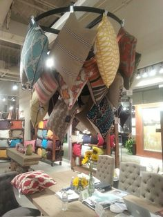 Fun pillow display at classic home-showroom seen at las vegas market м Shop Window Displays, Store Displays, Shop Front Design, Store Design, Bed Cover Design, Fabric Display, Store Fixtures, Best Pillow, Craft Sale