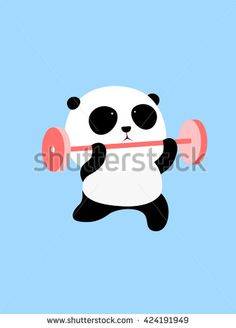 Vector Illustration: A cute cartoon giant panda is doing weight lifting - stock vector Cartoon Boy, Cute Cartoon, Panda Store, Do Exercise, Mickey Mouse, Disney Characters, Fictional Characters, Royalty Free Stock Photos, Weight Lifting