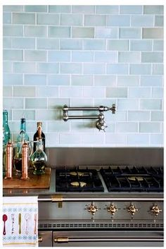 Love these tiles and a pot filler would just be decadent