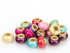 15 Copper Core Shiny Multi Colored Euro Beads. Starting at $5 on Tophatter.com!   Euro Bracelet Supplies No.65 March 14, 8pm EDT