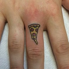 If there were ever a food to get tattooed, that food was pizza. Show off your love to the food God and get a cute little slice inked where everyone can see you mean business.