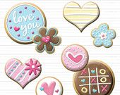 Valentines Day Cookies - Hearts and Flowers - Clip Art for Personal & Commercial Use - Digital Designs