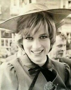 A Newly Married Princess Diana Looking Young and Happy At A Walkabout. Princess Diana is Wearing The Pearls She Received For Her 18th Birthday.