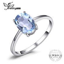 JewelryPalace Oval 1.5ct Natürliche Sky Blue Topaz Birth Solitaire Ring 925 Sterling Silber Edlen Schmuck Für Frauen Auf Verkauf(China)