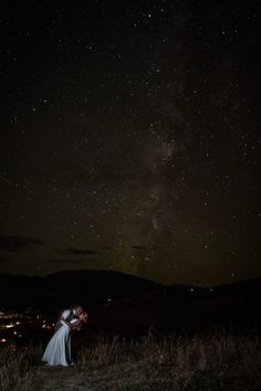 Wedding kiss under the stars. Danielle and Jason's Outdoor Fall Wedding in Crested Butte, Colorado
