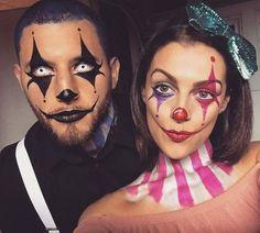 Clown-Make-up Clown-Kostüm Clownpaar. Spezialeffekte Make-up Clown Makeup Clown Costume Clown Couple. Special effects make-up …. up Scary Clown Makeup, Halloween Makeup Clown, Halloween Inspo, Halloween Looks, Costume Clown, Halloween Halloween, Costume Ideas, Halloween Photos, Scary Clowns