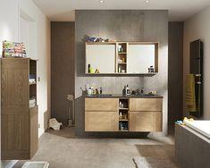 Castorama : Meuble de salle de bains Essential II. Une salle de bains structurée qui a l'esprit de famille