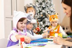 Kids with teacher make hands crafts in kindergarten. Children prepare to christmas in daycare. Group orf preschoolers on lesson in classroom - Buy this stock photo and explore similar images at Adobe Stock In Kindergarten, Children, Kids, Preschool, Classroom, Teacher, Cheap Things, Stock Photos, Crafts