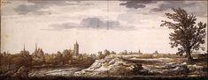 View of Arnhem, Aelbert Cuyp, 1645-50, Black chalk, brush in yellowish green and grey, Rijksmuseum, Amsterdam