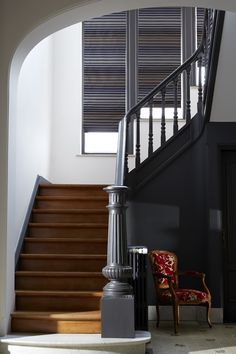 trendy Ideas for painted stairs ideas grey stairs ideas grey Painted Staircases, Wood Staircase, Painted Stairs, House Stairs, Carpet Stairs, Hall Carpet, Escalier Design, Oak Trim, Staircase Makeover