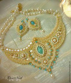 """Купить Колье """"Anju"""" (та, что живет в сердце) - бежевый, индия, украшения индийские, ларимар, голубой"""