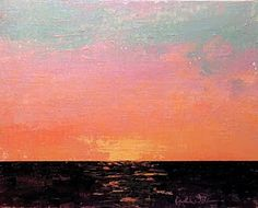 """""""As the Sun Slips Behind the Ocean"""" by Karla Nolan, palette knife oil painting on linen panel Impressionist Landscape, Landscape Paintings, First Art, Contemporary Landscape, Palette Knife, Art Oil, Art Blog, Original Paintings, Abstract"""
