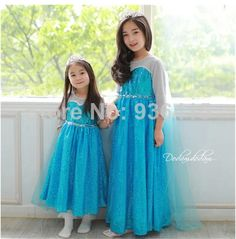 Girl Clothes Frozen Elsa Cosplay Dress 2014 New Children's Clothing Cotton Summer Girl Dresses for party US $53.00