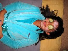 Relaxing with the facial masque at Alexa's kids spa party!
