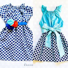 Sister Easter Dresses - Mix and Match Dresses - Spring Matching Dresses - Blue and Aqua Dresses Holiday Dresses, Spring Dresses, Blue Dresses, Girls Easter Dresses, Girls Dresses, Navy Floral Dress, Polka Dot Fabric, New Dress, Trending Outfits