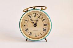 Vintage alarm clock, working condition, Soviet alarm clock, turquoise alarm clock