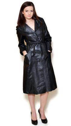 90s leather coat sexy black long fitted coats genuine coat #RaincoatsForWomenLongSleeve