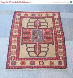 "ON SALE Vintage Turkish Kilim Rug,34""x29.5""(87x75cm),SHIPPING Free,Handwoven Wool Small Rug,RahRah Kilim,Natural Dye,Tribal Kilim Rug,Animal..."
