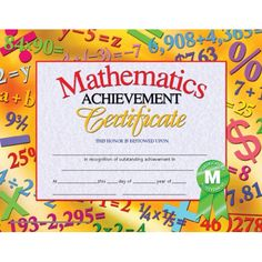Hayes Mathematics Achievement Certificate, inch x 11 inch, Pack of 30 Student Incentives, Classroom Incentives, Certificate Maker, Gift Certificate Template, Certificate Of Achievement Template, Printable Certificates, Award Certificates, Award Template, Student Awards