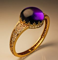 Victorian 19th Century Gothic Style 70 Ct  Amethyst Gold Bangle Bracelet - Antique Jewelry 1800s
