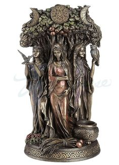 Bronze Celtic Triple Goddess Maiden Mother and the Crone Sculpture - Veronese Collection