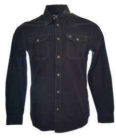 True Religion Mens Long Sleeve Utility Casual Shirt Size M in Black NWT $132 #TrueReligion #ButtonFront