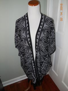 New Directions Black White Women's Small Fringe Poncho Sweater $56 | eBay